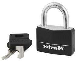 MASTER LOCK 1-9/16 Black Vinyl Cover Brass Padlock