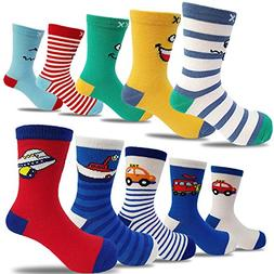 10 Pairs Kids Boys Colorful Novelty Fashion Cotton Crew Sock