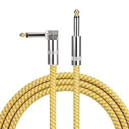 10 ft Guitar Bass Amp Cable Right Angle 1/4 Inch Premium Ins