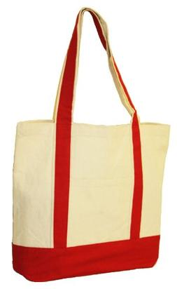 """10oz.Cotton Canvas Boat Totes with Front Pocket size 16"""" W x"""