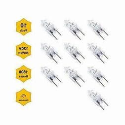 10pc 20W 120V G8 Base Halogen Bi Pin Under Cabinet Light Bul