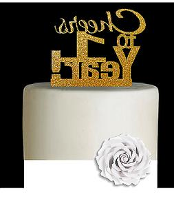 1st Birthday / Anniversary Cheers Gold Glitter Cake Decorati