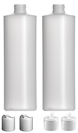 2 Pack Refillable 16 Ounce HDPE Squeeze Bottles With BOTH Pr