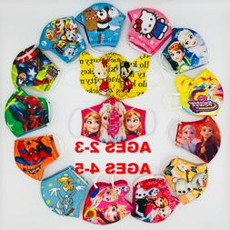 2 PACK Kids Face Mask HERO/PRINCESS Age 5 &under Polyester F