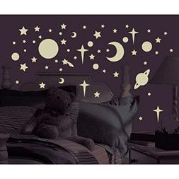 258 New Glow in the Dark Stars Suns Planets Wall Decals Kids