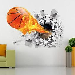 M Y Fly Young 3D Basketball Rush Out Wall Stickers