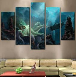 5Pc Kraken Octopus Under the Sea Painting Canvas Modern Wall