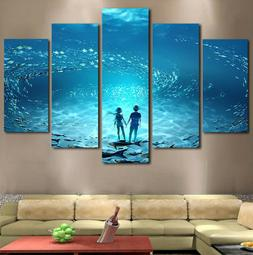 5Pc Ocean Under the Sea Anime Water Canvas Modern Wall Art H