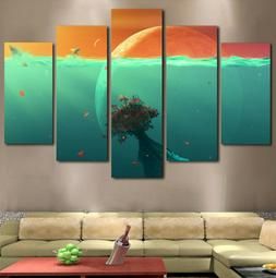 5Pc Space Ocean Planet Under the Sea Water Canvas Modern Wal