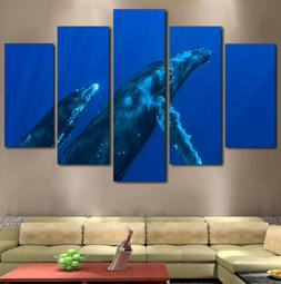 5Pcs Under Water Humpback Whales Photo Modern Canvas Wall Ar