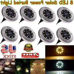 8 LED Solar Power Buried Light Under Ground Lamp Outdoor Pat