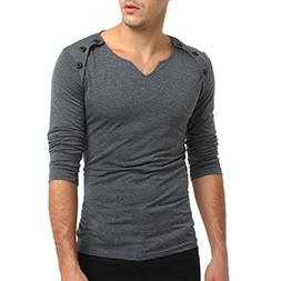 AKIMPE Men's Autumn Pure Color Long Sleeved Pullover Fastene