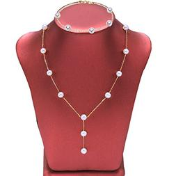 Amelery Gold Long necklace pearls bracelet Jewelry Set Y Nec