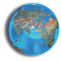 Aqua Crystal Earth Sphere with Natural Earth Continents, Gla