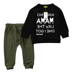 Baby Kids Toddler Boy Printed Tops Pants Leggings Outfits Cl