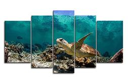 Blue 5 Panel Wall Art Painting Underwater Turtle Prints On C