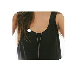 Defiro Y Layer Simple Bar Pendant Necklace Center Long Laria