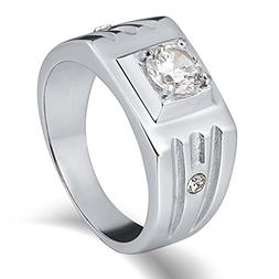 Epinki Stainless Steel Punk Finger Ring Cubic Zirconia High
