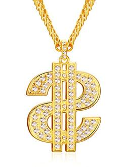 Finrezio Gold Plated Necklace for Men Hip Hop Jewelry Dollar