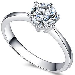 Jude Jewelers 1.0 Carat Classical Stainless Steel Solitaire
