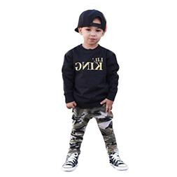 Lanpan Baby Boy Letter T shirt Tops+Camouflage Pants Outfits
