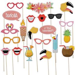 LeeSky 21pcs Luau Hawaii Photo Booth Props Kit,for Hawaiian,