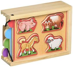 Melissa & Doug Animals Wooden Mini-Puzzle Set With Storage a