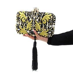 Pearl Beads Diamonds Gold Embroidery Clutch Bag Black Tassel