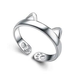 S&E Women's 925 Sterling Silver Rings Simple Cute Cat Design