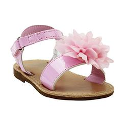 Stepping Stones Girls Pink Sandals with Flower and Ankle Bac