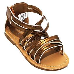 Stepping Stones Little Girls Gladiator Copper Sandals  Size
