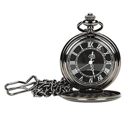 WIOR Black Pocket Watch Roman Pattern Steampunk Retro Vintag