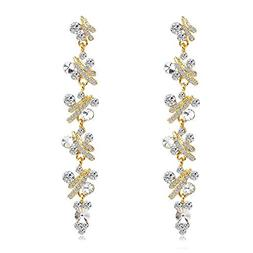 WIWIW Women's Austrian Crystal Bridal Leaf Long Dangle Chand