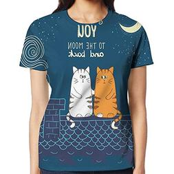 WuLion Love Cats On The Roof Under Night Sky Moon Stars Cari