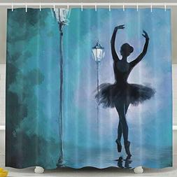 POOPEDD A Ballet Girl Under A Streetlight Shower Curtain, Fu