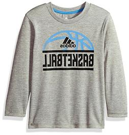 adidas Little Boys' LS Sport Split Tee, Grey, 5