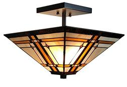 Amora Lighting AM085CL14 Tiffany-Style Mission 2-Light Semi-
