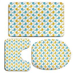 3 Piece Bath Mat Rug Set,Rubber-Duck,Bathroom Non-Slip Floor