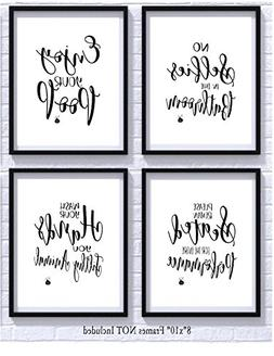 Bathroom Quotes and Sayings Art Prints | Set of Four Photos