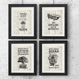 Bathroom Quotes and Sayings Vintage Book Art Prints | Set of