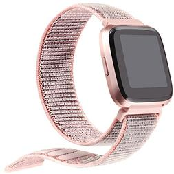bayite For Fitbit Versa Bands for Women, Woven Nylon Band Sp