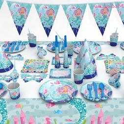 Birthday Mermaid Party Disposable Tableware Set Napkins Plat