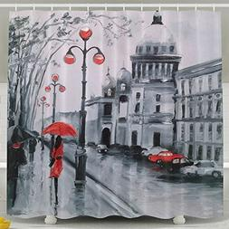 POOPEDD Black And White Love Under A Red Umbrella Shower Cur