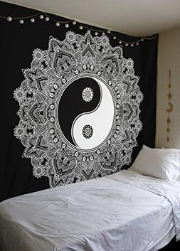 Black And White Tapestry, YinYang Wall Hanging Tapestry, Man