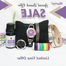 Essential Oil Bracelet Set with Gift Box and 10ml Lavender E