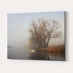 Rosenberry Rooms Canvas Wall Art Prints - Geese in Fog Flock