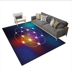 Carpet,Digital Overlapping Circles Grid Geometric Centered o