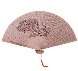 YJYdada Chinese Traditional Hollow Fan Wooden Hand Made Exqu