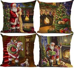 Ruimeier Christmas Pillow Covers Set of 4, 18 x 18 Inches Pi