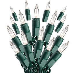 Prextex 100-Count Clear Green Wire Christmas Light Set Chris